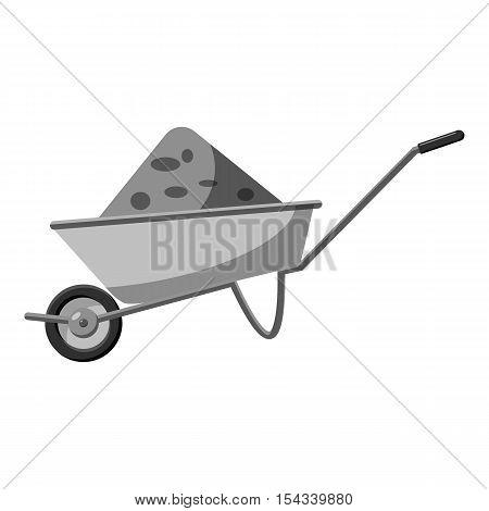 Gardening wheelbarrow icon. Gray monochrome illustration of wheelbarrow vector icon for web