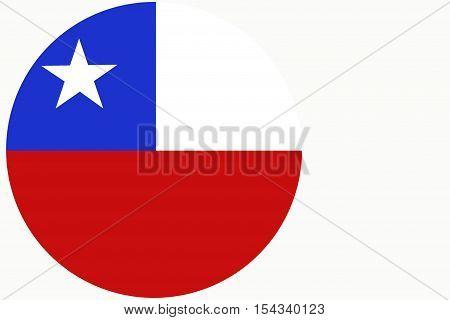 Chile flag ,Chile national flag illustration symbol.   circle illustration design