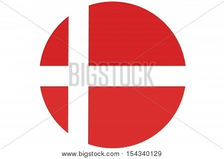 Denmark flag ,Denmark national flag illustration symbol..circle illustration design