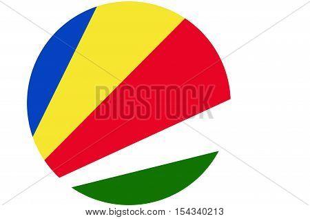 Seychelles flag ,Seychelles national flag illustration symbol.Circle flag illustration design