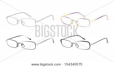 Glasses stylized vector set on a white background
