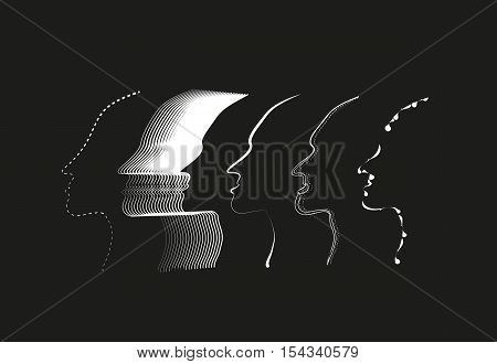 five face outline vector on a black bacckground