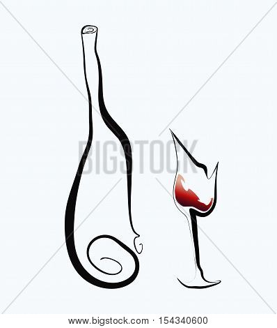 Stylized goblet and bottle. Vector illustration izolated