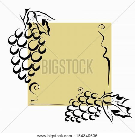 Creativity grapes frame decoration stylized vector illustration.