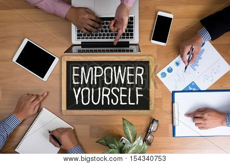 Empower Yourself Businessman Working At Office Desk And Using A Digital Touch Screen Tablet And Use