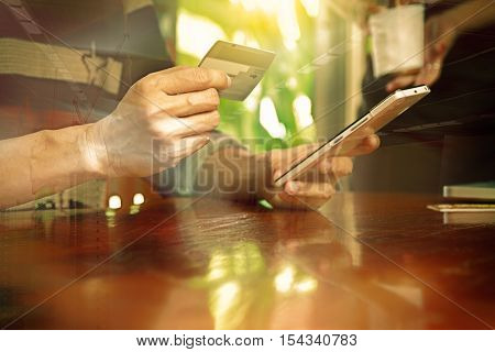 Hands Holding Credit Card And Using Laptop. Online Shopping,credit Card Content,credit Card Backgrou