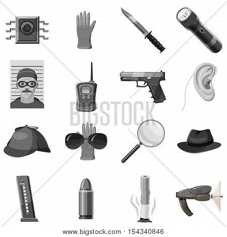Detective icons set. Gray monochrome illustration of 16 detective vector icons for web