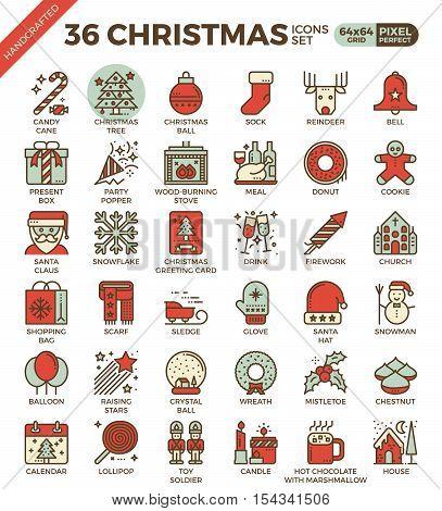 Merry Christmas, Xmas, Celebration Outline Icons