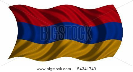Armenian national official flag. Patriotic symbol banner element background. Correct colors. Flag of Armenia with real detailed fabric texture wavy isolated on white 3D illustration