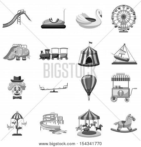 Amusement park icons set. Gray monochrome illustration of 16 amusement park vector icons for web