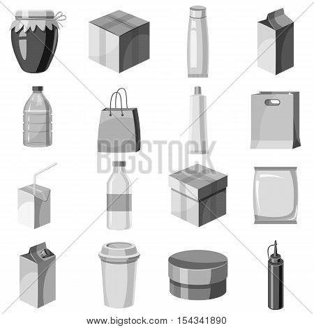 Package container icons set. Gray monochrome illustration of 16 package container vector icons for web