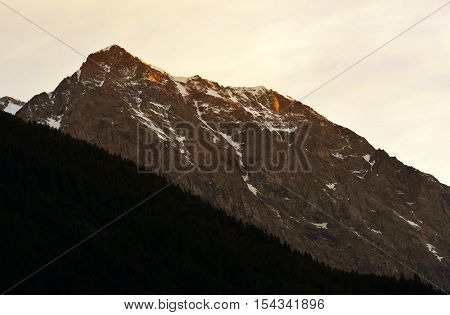 Rieserfernergruppe mountain range at sunrise, South Tyrol, Italy