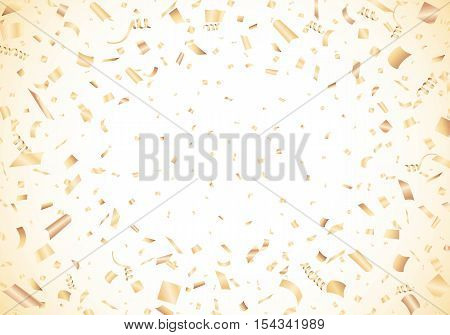 Golden glowing confetti on white background Vector