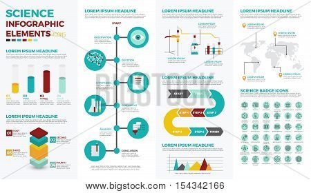 Science infographic element with illustrations and icons for data report and information presentation