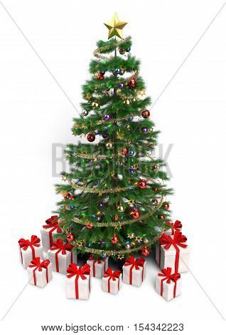 Christmas tree with gifts isolated on white background - 3D render
