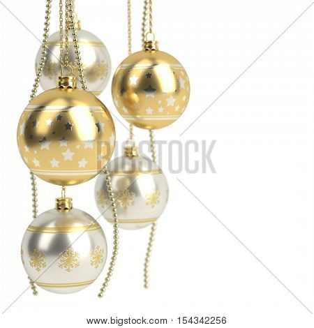 glossy golden christmas bulbs isolated on white background - 3D render