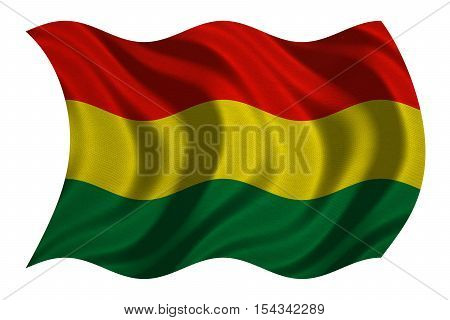 Bolivian national official flag. Patriotic symbol banner element background. Correct colors. Flag of Bolivia with real detailed fabric texture wavy isolated on white 3D illustration