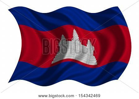 Cambodian national official flag. Patriotic symbol banner element background. Correct colors. Flag of Cambodia with real detailed fabric texture wavy isolated on white 3D illustration