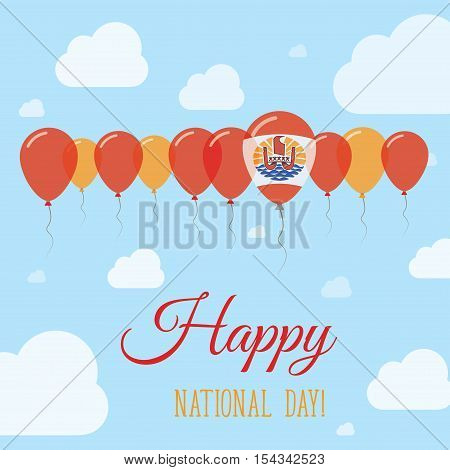 French Polynesia National Day Flat Patriotic Poster. Row Of Balloons In Colors Of The French Polynes