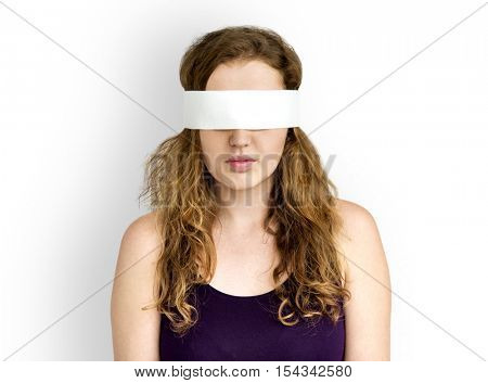 Woman Eye Covered Blind Forbidden Lost Concept