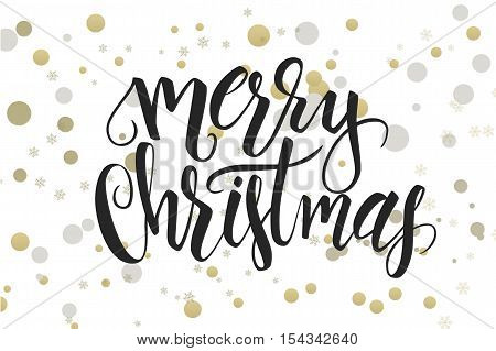 vector hand lettering christmas greetings text -merry christmas - with ellipses in gold color.