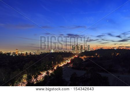 Beautiful Los Angeles Downtown Sunset View