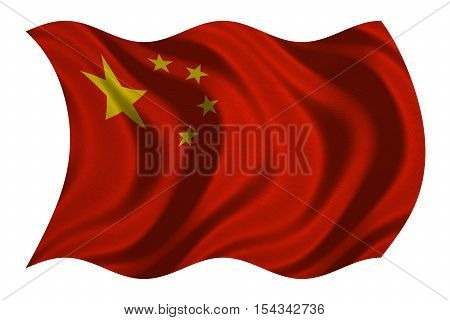 Chinese national flag. Symbol of the People's Republic of China. Patriotic PRC background design. Correct colors. Flag of China with real detailed fabric texture wavy isolated on white 3D illustration
