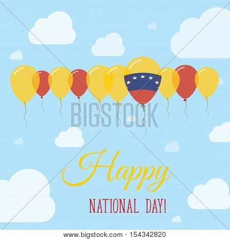 Venezuela, Bolivarian Republic Of National Day Flat Patriotic Poster. Row Of Balloons In Colors Of T