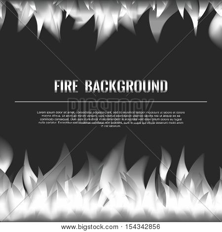Vector Realistic Fire Flames Poster Banner Black Color Background, Silvery White Flame