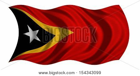 East Timorese national official flag. Patriotic symbol banner element background. Correct colors. Flag of East Timor with real detailed fabric texture wavy isolated on white 3D illustration