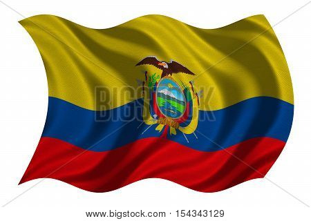 Ecuadorian national official flag. Patriotic symbol banner element background. Correct colors. Flag of Ecuador with real detailed fabric texture wavy isolated on white 3D illustration