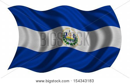 Salvadoran national official flag. Patriotic symbol banner element background. Correct colors. Flag of El Salvador with real detailed fabric texture wavy isolated on white 3D illustration