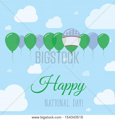 Uzbekistan National Day Flat Patriotic Poster. Row Of Balloons In Colors Of The Uzbekistani Flag. Ha