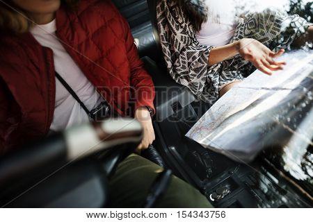 Couple Map Road Trip Travel Concept