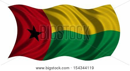 Bissau-Guinean national official flag. Patriotic symbol banner element background. Correct colors. Flag of Guinea-Bissau with real detailed fabric texture wavy isolated on white 3D illustration