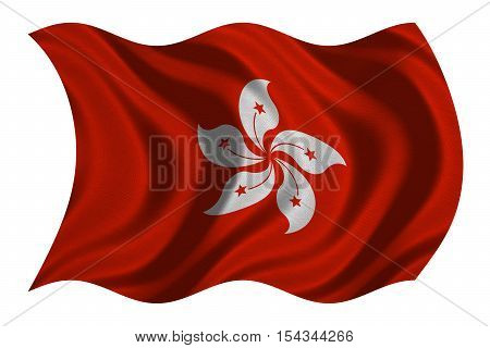 Hong Kongese official flag. Patriotic chinese symbol banner element background. Hong Kong is special region of PRC. Correct colors. Flag of Hong Kong wavy on white fabric texture 3D illustration