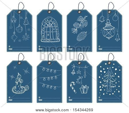 Winter And New Year Gift Tags Set. Hand Drawn Sketch Greeting Cards Tamplate With Doodles Festive El