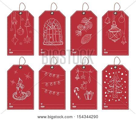 Winter And New Year Gift Tags Set. Hand Drawn Sketch Greeting Cards Template With Doodles Festive El