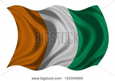 Cote D Ivoire national official flag. African patriotic symbol banner element background. Correct color. Flag of Ivory Coast with real detailed fabric texture wavy isolated on white 3D illustration