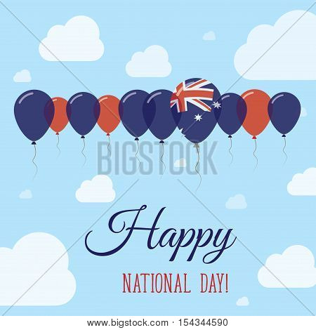 Australia National Day Flat Patriotic Poster. Row Of Balloons In Colors Of The Australian Flag. Happ