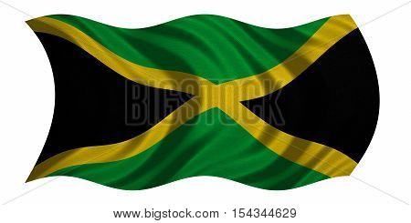 Jamaican national official flag. Patriotic symbol banner element background. Correct colors. Flag of Jamaica with real detailed fabric texture wavy isolated on white 3D illustration