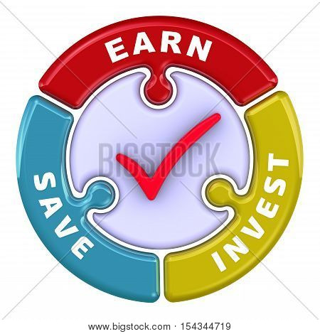Earn, save, invest. The check mark in the form of a puzzle. The inscription