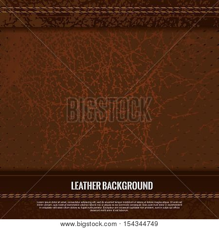 Vector Closeup of Genuine Brown Color Fine Leather Texture Touch up with Stitches