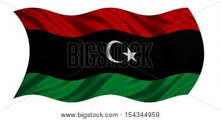 Libyan national official flag. African patriotic symbol banner element background. Correct colors. Flag of Libya with real detailed fabric texture wavy isolated on white 3D illustration