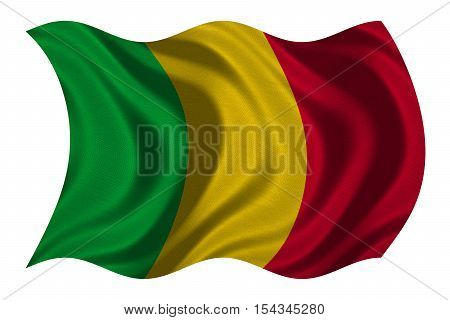 Malian national official flag. African patriotic symbol banner element background. Correct colors. Flag of Mali with real detailed fabric texture wavy isolated on white 3D illustration