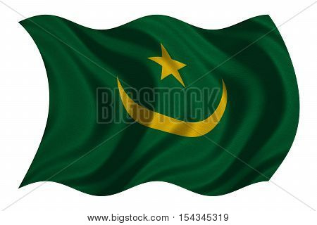 Mauritanian national official flag. African patriotic symbol banner element background. Correct colors. Flag of Mauritania with real detailed fabric texture wavy isolated on white 3D illustration