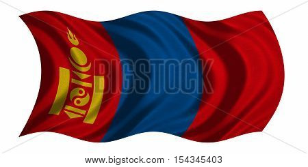 Mongolian national official flag. Patriotic symbol banner element background. Correct colors. Flag of Mongolia with real detailed fabric texture wavy isolated on white 3D illustration