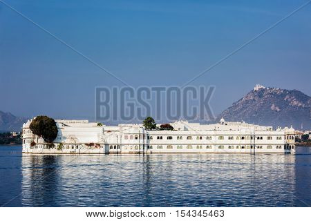 UDAIPUR, INDIA - NOVEMBER 23, 2012: Lake Palace (Jag Niwas) in Lake Pichola, Udaipur, Rajasthan. It is famous luxury hotel, has been voted as the most romantic hotel in India and in the world.