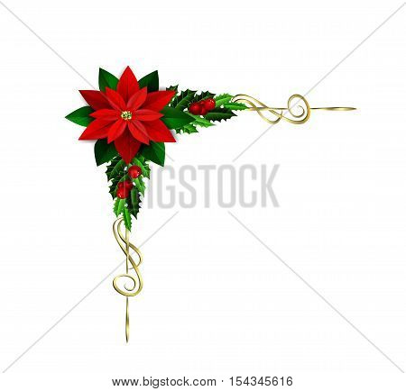 Christmas corner element decoration with evergreen treess holly and berries and poinsettia isolated