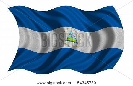 Nicaraguan national official flag. Patriotic symbol banner element background. Correct colors. Flag of Nicaragua with real detailed fabric texture wavy isolated on white 3D illustration
